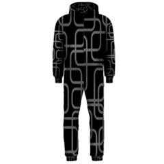 Black and gray decorative design Hooded Jumpsuit (Men)