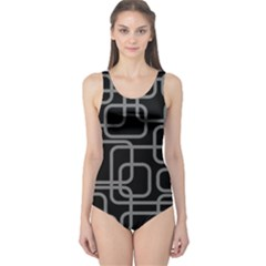 Black and gray decorative design One Piece Swimsuit
