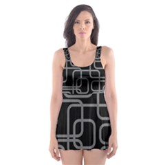 Black And Gray Decorative Design Skater Dress Swimsuit