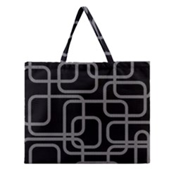 Black And Gray Decorative Design Zipper Large Tote Bag