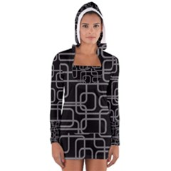 Black And Gray Decorative Design Women s Long Sleeve Hooded T Shirt