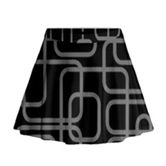 Black And Gray Decorative Design Mini Flare Skirt