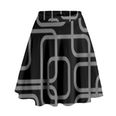 Black And Gray Decorative Design High Waist Skirt