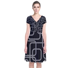 Black and gray decorative design Short Sleeve Front Wrap Dress