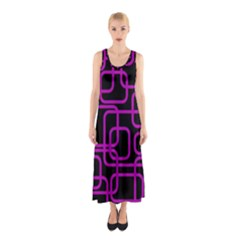 Purple And Black Elegant Design Sleeveless Maxi Dress