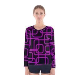 Purple and black elegant design Women s Long Sleeve Tee