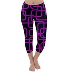 Purple and black elegant design Capri Winter Leggings