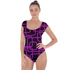 Purple and black elegant design Short Sleeve Leotard