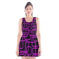 Purple and black elegant design Scoop Neck Skater Dress