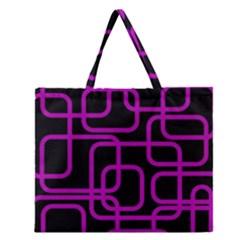 Purple and black elegant design Zipper Large Tote Bag