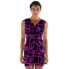 Purple and black elegant design Wrap Front Bodycon Dress