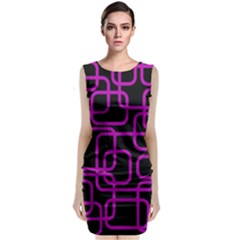 Purple And Black Elegant Design Classic Sleeveless Midi Dress
