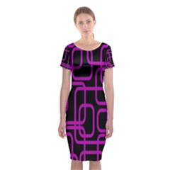 Purple And Black Elegant Design Classic Short Sleeve Midi Dress