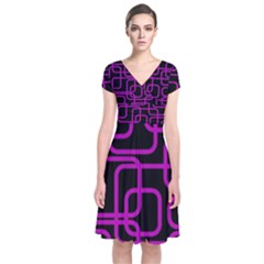 Purple And Black Elegant Design Short Sleeve Front Wrap Dress