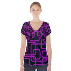 Purple And Black Elegant Design Short Sleeve Front Detail Top
