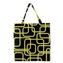 Yellow and black decorative design Grocery Tote Bag