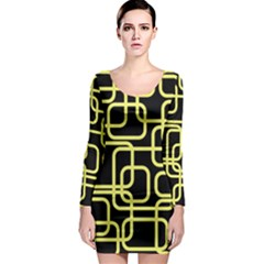 Yellow and black decorative design Long Sleeve Bodycon Dress