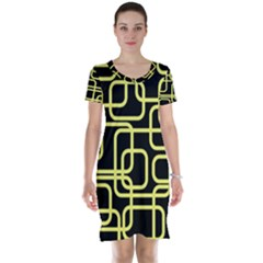 Yellow and black decorative design Short Sleeve Nightdress