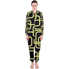 Yellow and black decorative design Hooded Jumpsuit (Ladies)