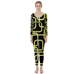 Yellow and black decorative design Long Sleeve Catsuit