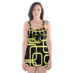 Yellow And Black Decorative Design Skater Dress Swimsuit