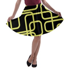 Yellow And Black Decorative Design A Line Skater Skirt