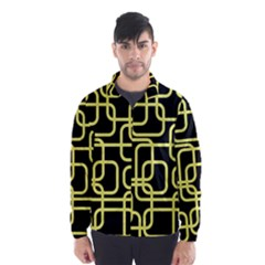 Yellow And Black Decorative Design Wind Breaker (men)