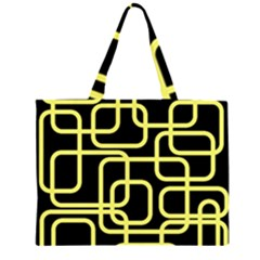 Yellow and black decorative design Large Tote Bag