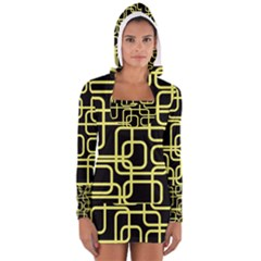 Yellow and black decorative design Women s Long Sleeve Hooded T-shirt