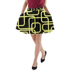 Yellow and black decorative design A-Line Pocket Skirt