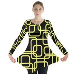 Yellow And Black Decorative Design Long Sleeve Tunic