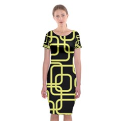 Yellow And Black Decorative Design Classic Short Sleeve Midi Dress