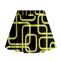 Yellow and black decorative design Mini Flare Skirt