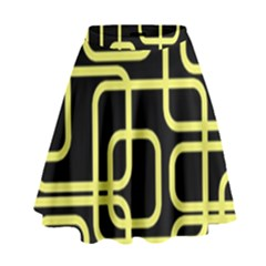 Yellow And Black Decorative Design High Waist Skirt