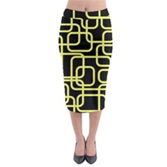 Yellow And Black Decorative Design Midi Pencil Skirt