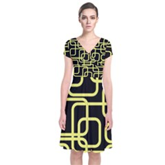 Yellow And Black Decorative Design Short Sleeve Front Wrap Dress