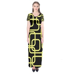 Yellow And Black Decorative Design Short Sleeve Maxi Dress