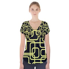Yellow And Black Decorative Design Short Sleeve Front Detail Top