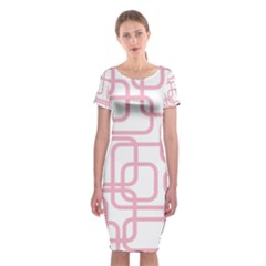 Pink Elegant Design Classic Short Sleeve Midi Dress