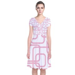 Pink Elegant Design Short Sleeve Front Wrap Dress