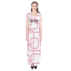 Pink Elegant Design Short Sleeve Maxi Dress