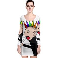 Punker  Long Sleeve Bodycon Dress
