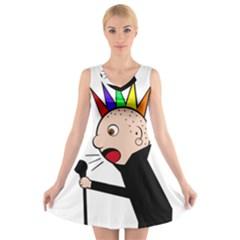 Punker  V-Neck Sleeveless Skater Dress
