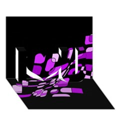 Purple Decorative Abstraction I Love You 3d Greeting Card (7x5)