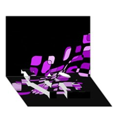 Purple decorative abstraction LOVE Bottom 3D Greeting Card (7x5)