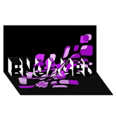 Purple decorative abstraction ENGAGED 3D Greeting Card (8x4)