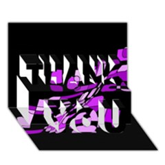 Purple decorative abstraction THANK YOU 3D Greeting Card (7x5)