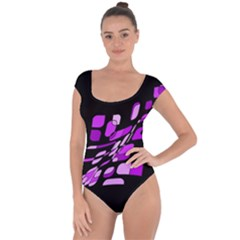 Purple decorative abstraction Short Sleeve Leotard