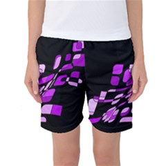 Purple Decorative Abstraction Women s Basketball Shorts