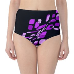Purple decorative abstraction High-Waist Bikini Bottoms
